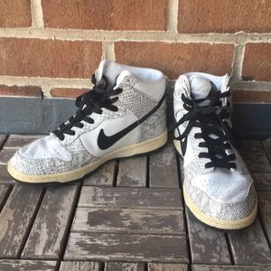Snakeskin Nike High Top Dunk Sneakers